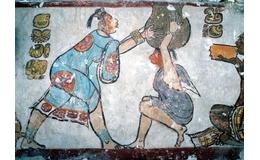 Pintura mural de la acrópolis maya Calakmul en Campeche