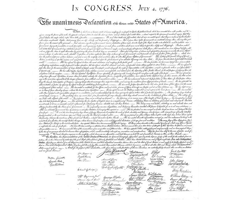 El 4 de julio de 1776 se declara la independencia de los Estados Unidos de América
