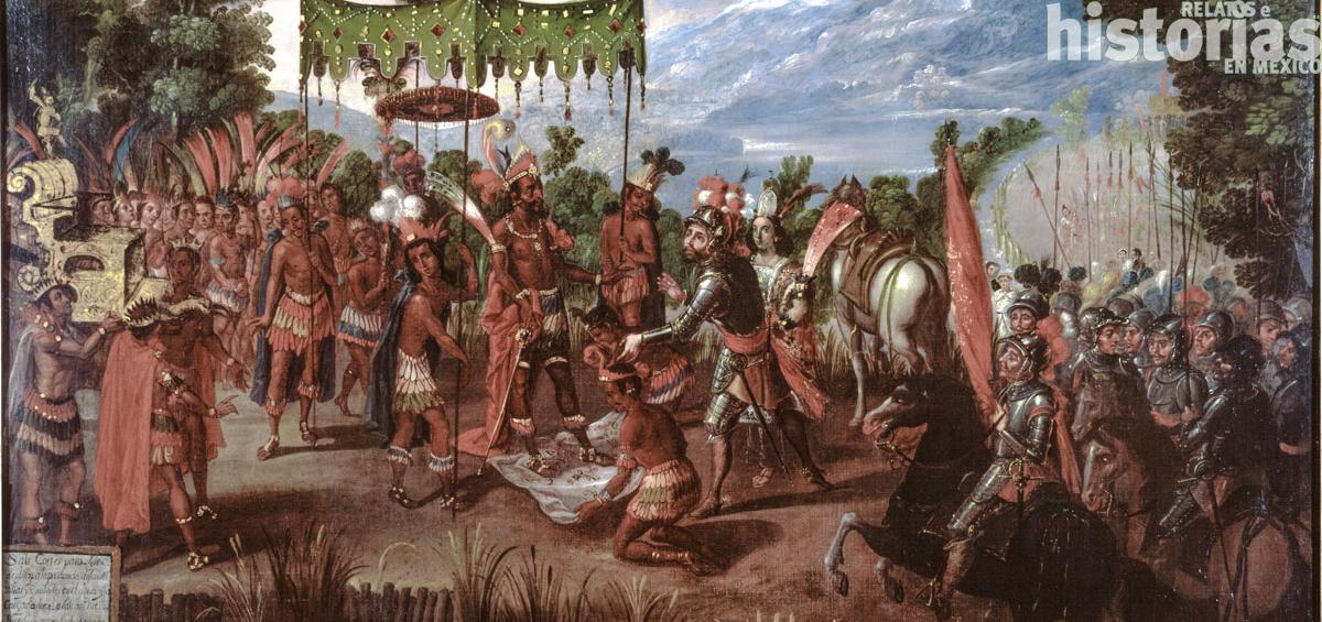 Moctezuma II y Hernán Cortés frente a frente
